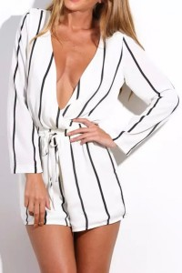 Vertical Striped Print Surplice Romper OASAP bester Fashion-Online-Shop aus China