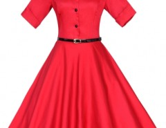 Vintage Button Front Collared A-line Dress OASAP bester Fashion-Online-Shop aus China