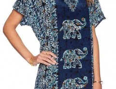 Vintage Elephant Print Summer Blouse OASAP bester Fashion-Online-Shop aus China