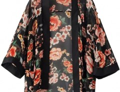 Vintage Floral Open-Front Black Chiffon Kimono Top OASAP bester Fashion-Online-Shop aus China