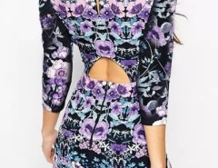 Vintage Floral Print Cut-out Back Bodycon Dress OASAP bester Fashion-Online-Shop aus China