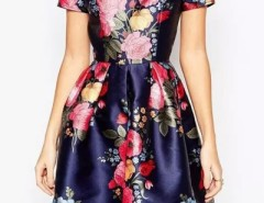 Vintage Floral Print Scoop Back Pleated Swing Dress OASAP bester Fashion-Online-Shop aus China