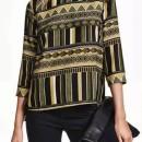 Vintage Geometric Print Three Quarter Sleeve Blouse OASAP bester Fashion-Online-Shop aus China