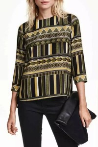 Vintage Geometric Print Three Quarter Sleeve Blouse OASAP bester Fashion-Online-Shop aus China