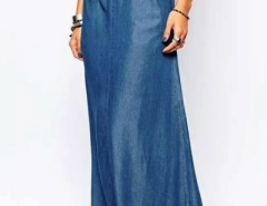 Vintage On-Seam Pocket Maxi Denim Skirt OASAP bester Fashion-Online-Shop aus China