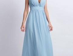 Vintage Plunging V Neckline Back Cut-Out Maxi Chiffon Dress OASAP bester Fashion-Online-Shop aus China