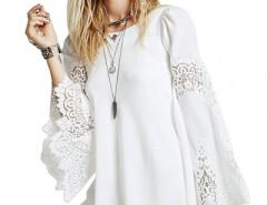 White Flared Sleeves Chiffon Mini Dress OASAP bester Fashion-Online-Shop aus China