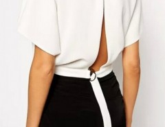 White High Fashion Back Slit Crop Blouse OASAP bester Fashion-Online-Shop aus China