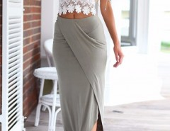 White Lace Crop Top Bodycon Skirt Matching Sets OASAP bester Fashion-Online-Shop aus China