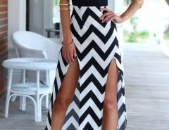 Chevron Spaghetti Straps Splits Cami Dress OASAP bester Fashion-Online-Shop aus China